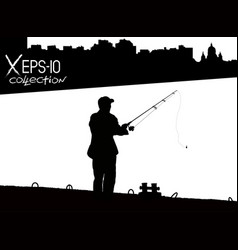 silhouette of fisherman with fishing rod on pier vector image vector image