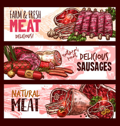 sketch butchery shop meat product banners vector image vector image