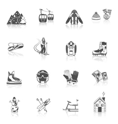 Ski resort icons black set vector