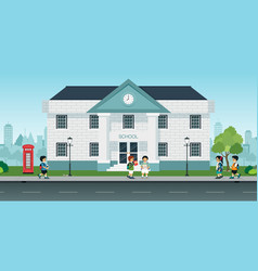 students come to school vector image