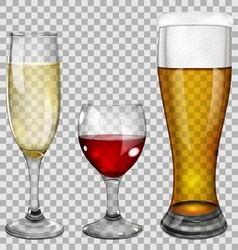 Transparent glass goblets with drinks vector image