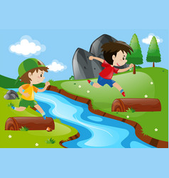 two boys running in the park vector image