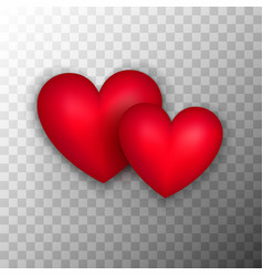 two red hearts transparent background vector image