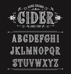 Vintage cider label font vector