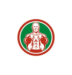 Weightlifter lifting kettlebell circle retro vector
