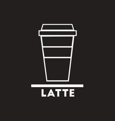 White icon on black background latte to go vector