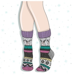 Woman wearing a pair of wool socks vector image vector image
