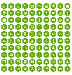 100 mask icons hexagon green vector