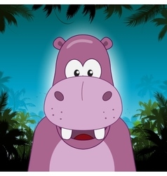 Cute cartoon hippo in front of jungle background vector image