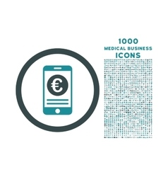 Euro mobile banking rounded icon with 1000 bonus vector