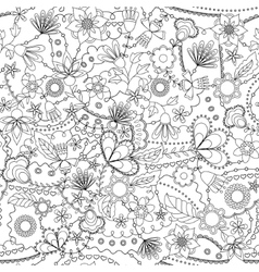 Fantasy flowers seamless pattern coloring vector