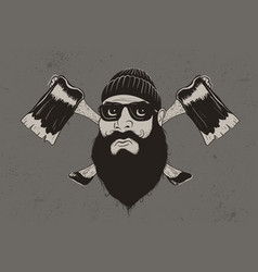 Lumberjack with two axes vector