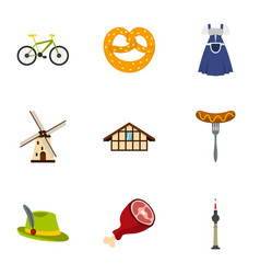 culture features of germany icons set flat style vector image