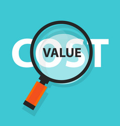 cost value concept business magnifying word focus vector image
