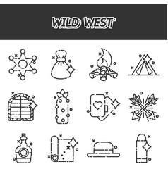 Wild west cartoon concept icons vector