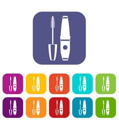 mascara mascara brush icons set vector image