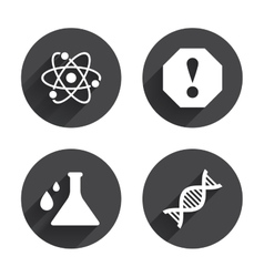Attention and dna icons chemistry flask vector