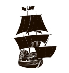 Silhouette sailboat vector