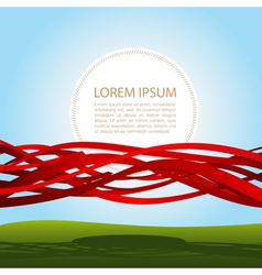Banner in red ribbons vector