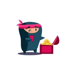 Cute emotional ninja found a chest with treasure vector