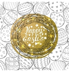 Template card with nest and easter eggs vector
