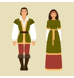 Medieval man and a woman vector