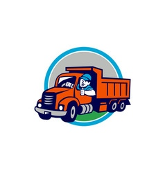 Dump truck driver thumbs up circle cartoon vector