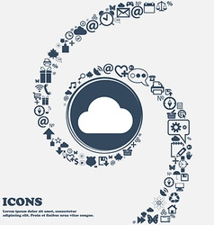Cloud icon sign in the center around the many vector