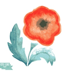 Retro watercolor flower on a white background vector