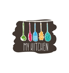 Concept hand drawn logo for themed kitchen with vector