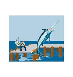 Blue Marlin Fish Jumping Retro vector image vector image