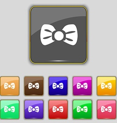 Bow tie icon sign Set with eleven colored buttons vector image