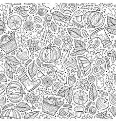 Cartoon cute hand drawn autumn seamless pattern vector