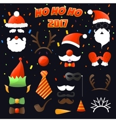 Christmas party set glasses hats mustaches vector
