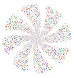 Cogwheel fireworks swirl flower vector