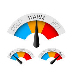 Cold warm and hot temperature gauge vector