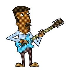 Comic cartoon man playing electric guitar vector
