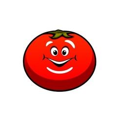 Cute fat juicy cartoon tomato vegetable vector