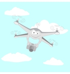 Drone filmed by the camera vector image
