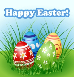 Easter egg set in grass vector image vector image