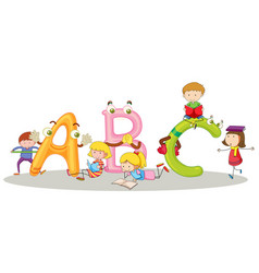 english alphabets and happy children vector image