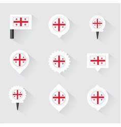 Georgia flag and pins for infographic and map vector