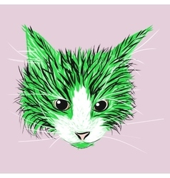 Green and black cat sketch vector image