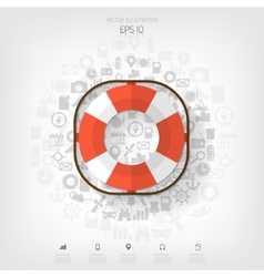 Lifebuoy web iconBackground wit application vector image vector image