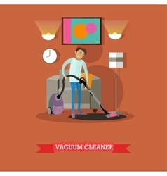 Man vacuuming floor in his room cleaning service vector