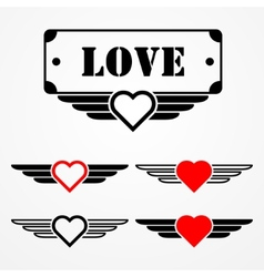 Military style love emblems vector image