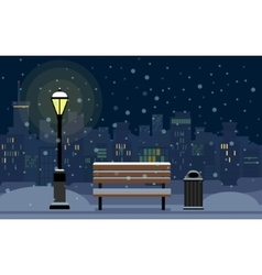 Night cityscape and snow vector