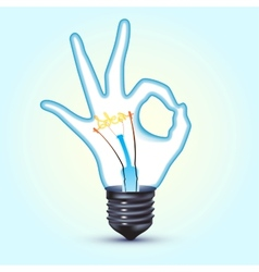 ok hand light bulb vector image