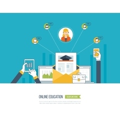Online education and courses vector image vector image