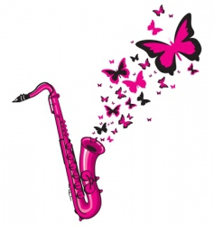 pink saxophone vector image vector image